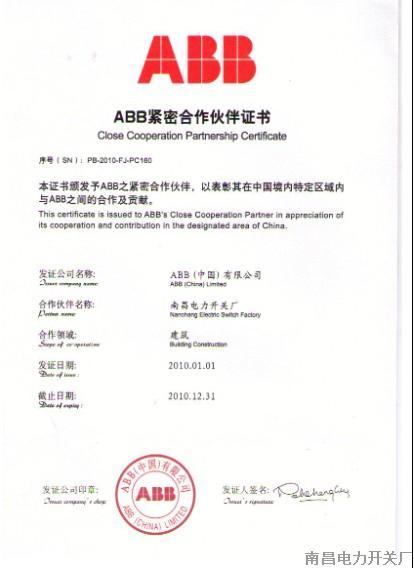 ABB紧密合作伙伴证书